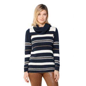 Pull-over à col roulé AMY VERMONT Bleu::Blanc::Coloris or