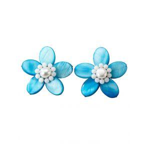 Clips d'oreilles fleur KLiNGEL Turquoise