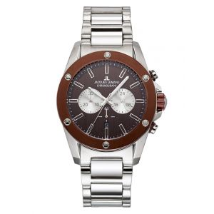 Chronographe homme Jacques Lemans Coloris argenté/marron