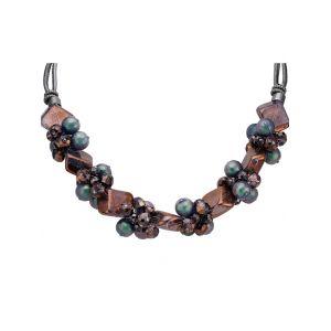Collier avec éléments en verre Langani multicolore