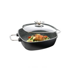 Poêle carrée universelle 'Gourmet Granit'; 23 x 23 cm - 4,9 litres GSW Noir