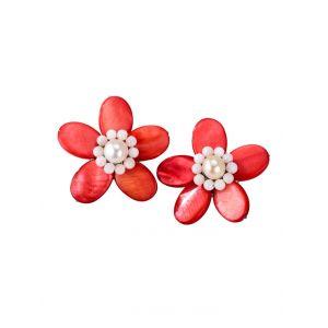 Clips d'oreilles fleur KLiNGEL Rouge