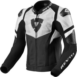 Revit Hyperspeed Air Veste en cuir de moto Noir Blanc 58