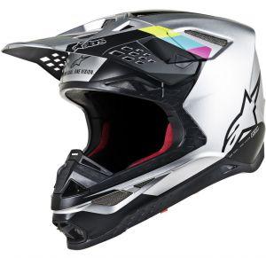 Alpinestars Supertech S-M8 Contact Casque de motocross Noir Argent S