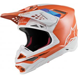 Alpinestars Supertech S-M8 Contact Casque de motocross Blanc Orange S