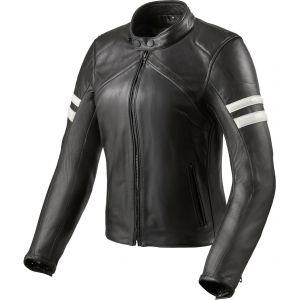 Revit Meridian Veste en cuir de moto de dames Noir Blanc 38