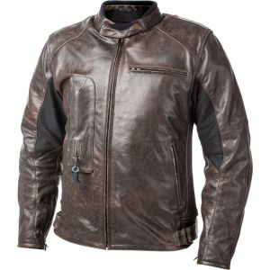 Helite Roadster Veste en cuir de moto Airbag Brun L