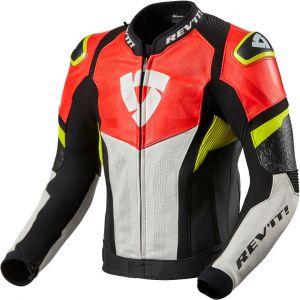 Revit Hyperspeed Air Veste en cuir de moto Noir Blanc Rouge 46