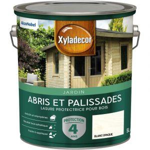 Lasure protectrice pour bois extérieur - Abris et Palissades - aspect mat blanc opaque 5 L - Xyladecor