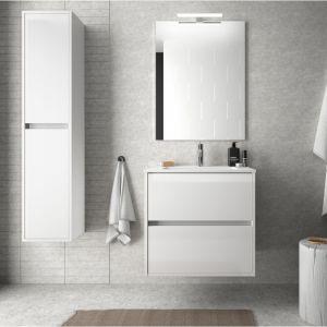 Meuble de salle de bain suspendu 60 cm Blanc laque avec lavabo en porcelaine   Avec colonne, miroir et lampe LED