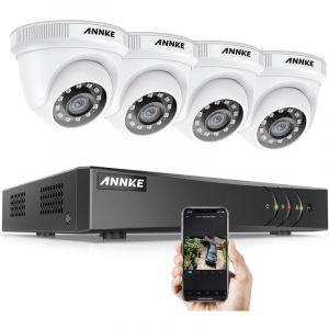 Annke Kit caméra de surveillance filaire 4CH TVI 1080N DVR enregistreur + 4 caméra HD 1080P extérieur vision nocture 20m – avec 4 caméra dôme sans disque dur