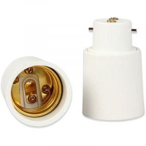 Fishtec® Lot de 2 Adaptateur de Douille B22 vers E27 - Convertisseur d'Ampoule