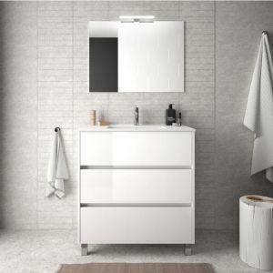 Meuble de salle de bain 80 cm Blanc laque avec lavabo en porcelaine   Avec colonne, miroir et lampe LED - BAGNO