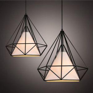 Lustre Suspension Filaire Industriel forme Diamant Luminaire - ? 25 cm - Noir - AXHUP