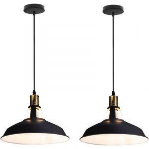 Lot de 2 Suspension Vintage Industrielle Lampe de Plafonniers LED Retro Métal Lustre avec Abat-jour Luminaire E27 Eclairage de Plafond Noir - STOEX