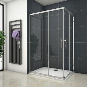 Cabine de douche 110x120x195cm en 6mm verre anticalcaire porte de douche coulissante l'ccès d'angle - OCEAN SANITAIRE