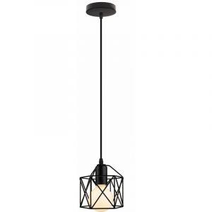 Lustre Suspension industrielle Lampe de Plafond Abat-Jour Corde Ajustable Luminaire Noir - STOEX