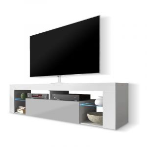 Selsey BIANKO - Meuble TV / Banc TV (140 cm, blanc mat / gris brillant, éclairage LED)