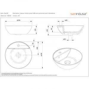 Vasque à poser ANCOSWING, ronde en céramique avec trop plein et avec plage de robinetterie - Blanc - ANCONETTI
