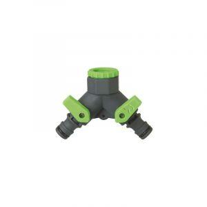Nez de robinet à double sortie pour tuyau d'arrosage jardin - HELIOTRADE