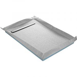Receveur de douche à carreler caniveau 4 pentes 90 x 90 cm + siphon 360° + natte étanche - U-TILE