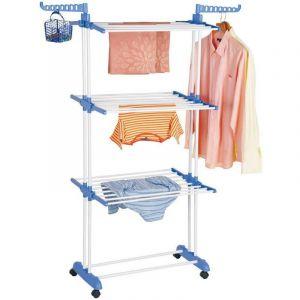 Etendoir à Linge Étendage à Linge Séchoir à Roulettes Pliant Grand Capacité - Bleu et Blanc - OOBEST