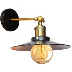 Applique Murale Industrielle 22cm en Métal fer, Lampe Rétro Loft Éclairage Vintage Edison Douille E27 pour Décoration de Maison , Bar , Restaurants, Café, Club, Noir - STOEX