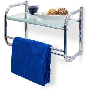 Étagère avec 2 porte-serviettes murale & Plateau en verre Rangement salle de bain Inox 34 x 45 x 23 cm, couleur métal - RELAXDAYS