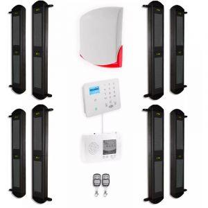 Kit complet 4 détections barrières FX 2B portée 900m + alerte GSM appel/SMS + sirène sans-fil puissante (gamme FX/KP) - ULTRA SECURE
