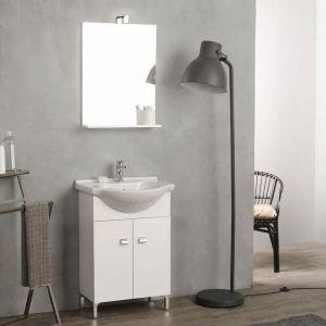 Meuble De Bain Sur Pieds Blanc 58 Cm Avec Lavabo Et Miroir Easy - KIAMAMI VALENTINA