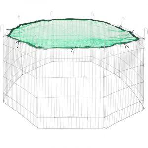 Parc d'Extérieur Grillagé à Lapins et Petits Rongeurs + 1 Filet de Protection 204 cm Ø Vert - TECTAKE