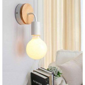 Modern Lampe murale en fer forgé bois, Vintage Lampe de sol E27 40W Applique murale Lampe de lecture Lampe de chevet pour chambre à coucher (Blanc) - STOEX