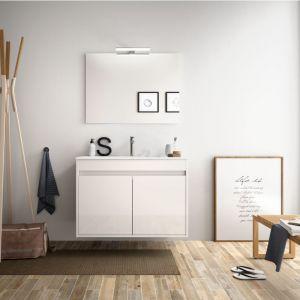 Meuble de salle de bain suspendu 80 cm Blanc laque avec deux portes   Avec miroir et lampe LED