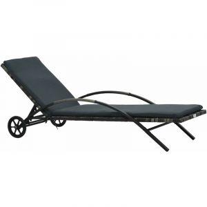 Chaise longue avec coussin et roues Résine tressée Anthracite - VIDAXL