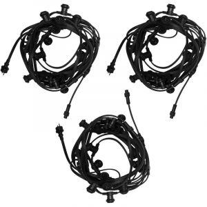 Guirlande Guinguette IP65 30m Noire Raccordable - Guirlande Lumineuse pour ampoule E27 60 Douilles - Guirlande Guinguette Extérieure pour Terrasse Jardin Bar