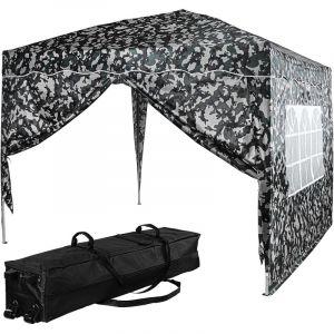 ® Tonnelle BASIC 3x3 m avec 2 panneaux latéraux (1 fermeture éclair + 1 avec fenêtre), couleur urban, avec sac de transport à roulettes - Instent