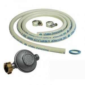 Kit connexion gaz complet pour réchauds gaz (tuyau souple 1.50m + embout tétine + détendeur BUTANE 28 mbars) - UNIVERS DU PRO