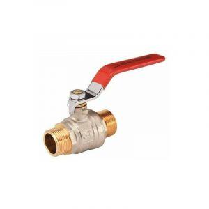 """Vanne à sphère laiton Ø 1""""1/4 male/male passage 32mm poignée acier plate rouge série référence + 566 SFERACO 566007"""