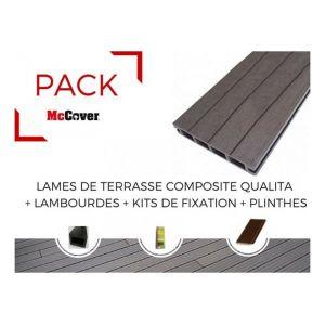 PACK 1 m² lame de terrasse composite Qualita ACCESSOIRES 3600 mm - Coloris - Gris carbone, Epaisseur - 25mm, Largeur - 14 cm, Longueur - 360 cm, Surface couverte en m² - 1 - MCCOVER