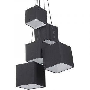 Lampe suspension moderne avec 5 abats jours noirs - BELIANI
