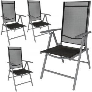 4 Chaises de Camping ou de Jardin Pliables Aluminium avec Accoudoirs et Dossier Haut Gris Anthracite Noir - TECTAKE