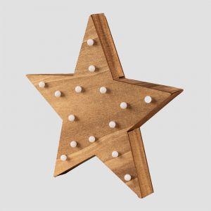 Étoile en bois avec lumières LED Lliva MDF - Marron Bois Naturel - Sklum