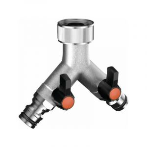 Nez de robinet double laiton chromé - Filetage 20 x 27 mm - Claber