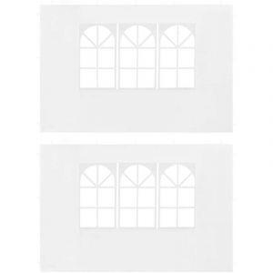 Paroi de tente de réception 2 pcs avec fenêtre PE Blanc - VIDAXL
