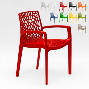 22 Chaises Gruvyer ARM Grand Soleil accoudoirs polypropylène brillant offre stock   Rouge