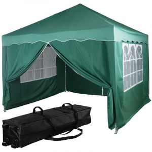 ® Structure de tonnelle pliante + 4 panneaux, 3x3 m acier > couleur vert, avec sac de transport à roulettes - Instent