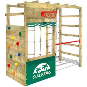 Aire de jeux bois WICKEY Smart Action avec boutique et échelle horizontale Vert