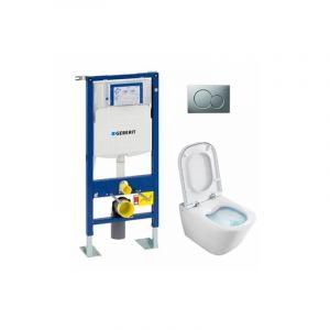 Pack WC Geberit UP320 + Cuvette GAP sans bride Cleanrim + plaque Sigma CHR Mat