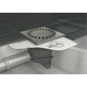 Bonde de sol AQUA BRILLIANT - Bonde de sol avec bavette et raccord horizontal et vertical - 15 x 15 cm - EASY DRAIN