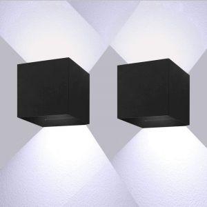 Led Applique Murale Interieur 7W Lampe murale Moderne Réglable Lampe Up and Down Design 6000K Blanc Froid Pour Couloir,Escalier,Salle d'exposition,Salon (Noire) - STOEX
